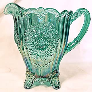 Dahlia Pattern Water Pitcher - Mosser Glass (Turquoise Carnival)