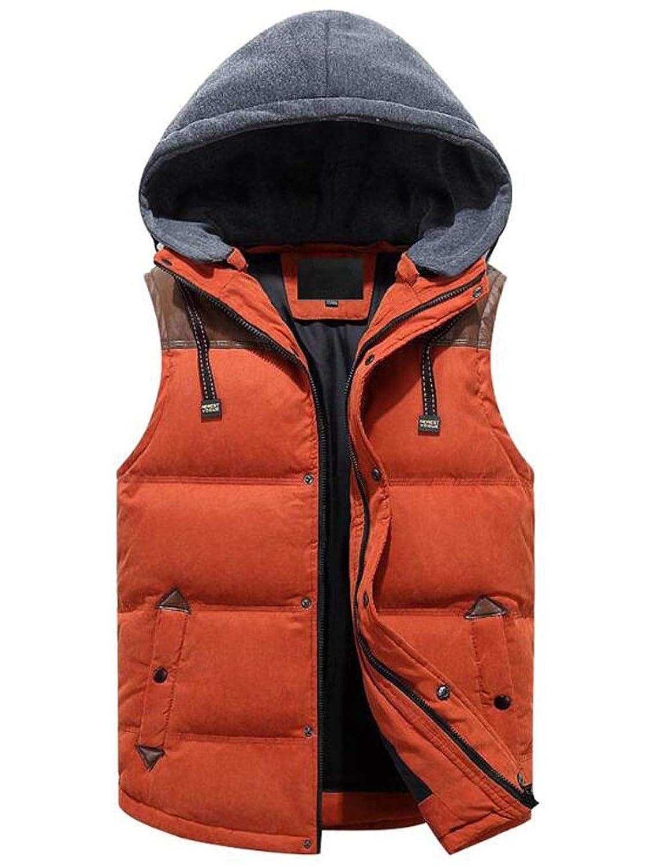 メンズウィンターベストリムーバブルフード付きキルティングウォームノースリーブジャケットGilet (色 : Orange, サイズ さいず : M)