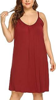 Chigant Womens Plus Size Nightgown Sleeveless Sleepwear Summer Cotton Sleepshirts Slip Night Dress