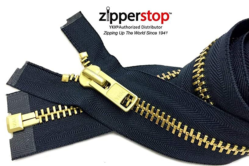 Zipperstop Wholesale YKK?- Extra Heavy Duty Jacket Zipper YKK? #10 Brass- Metal Teeth Separating -Chaps Zippers for Crafter's Special Color Navy #560 Made in USA -Custom Length (26 inches)