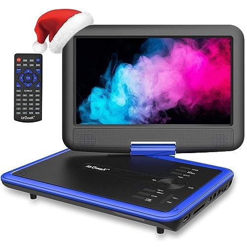 """ieGeek 11.5"""" Lecteur DVD Portable avec Écran Pivotant Rotatif à 270°, Batterie Rechargeable de 5 Heures Jouer, Supporte Carte SD et Compatible avec MP3 / MP4 /RMVB/AVI, pour Enfants- Bleu"""