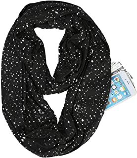 DUDU-PALY Women Winter Infinity Scarf Glitter Sequins Hidden Zipper Pocket Snood Neck Wrap