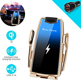 Wireless Car Charger, Intelligent Automatic Sensor Clamping Wireless Car Charger Mount, Car Charger Holder Fast Charing for iPhone 11/11 Pro/11 Pro Max/XS/XR/X Samsung S10/S9/S8/Note8 (G-Gold)