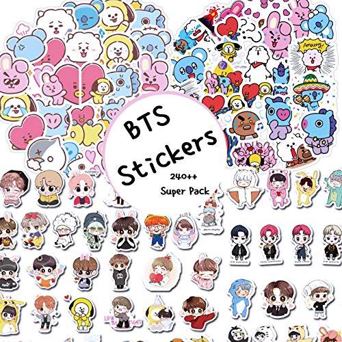 EmiKoi BTS Stickers Kpop Set Laptop Phone Case Luggage Water Bottle Computer Calendar Vinyl Decal Cute Kawaii Korean Anime Cartoon Pack Army Merchandise (240 PC)