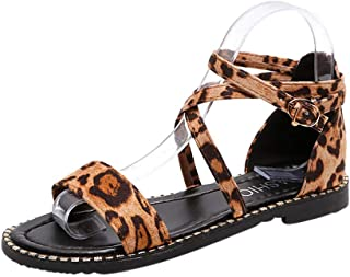 Women's Girls Cutout Flats Sandals, Jiayit Womens Fashion Casual Leopard Buckle Strap Low Heels Sandals Cross-Tied Shoes