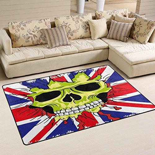 Use7 Tapis antidérapant pour salon, chambre à coucher Motif drapeau anglais et tête de mort 100 x 150 cm
