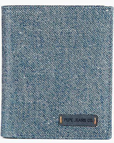 Pepe Jeans Jeans Cartera vertical con monedero Azul 8,5x11,5x1 cms Piel