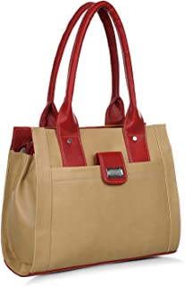 Right Choice Women's PU Shoulder Handbags (644, Beige and Red)