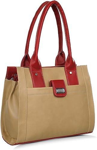 Women s PU Shoulder Handbags 644 Beige and Red