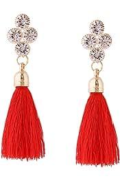 Aibelly Bohemian Vintage Ethnic Long Fringe Rhinestones Chain Tassel Statement Chandelier Dangle Drop Earrings New Fashion Handmade Retro Stud Earrings for Woman Girls