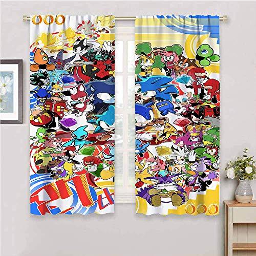 Paneles de cortina opacas Sonic the Hedgehog para guardería, cortina, aislamiento térmico, paneles cortos, decoración del hogar, 42 x 54 pulgadas