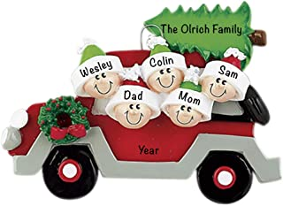 Car with Tree On Top Family of 5 Personalized - (Unique Christmas Tree Ornament - Classic Decor for A Holiday Party - Custom Decorations for Family Kids Baby Military Sports Or Pets)