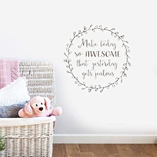 Oderio Vinyl Wall Decals Quotes Sayings Words Art Decor Lettering Vinyl Wall Art Nursery Kid Bedroom Make Today So Awesome That Yesterday Gets Jealous for Living Room Bedroom