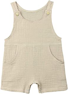 Baby Boys` Short Sleeve Rompers Jumpsuit with Pocket,Organic Cotton and Linen Sleeveless One-Piece Coverall