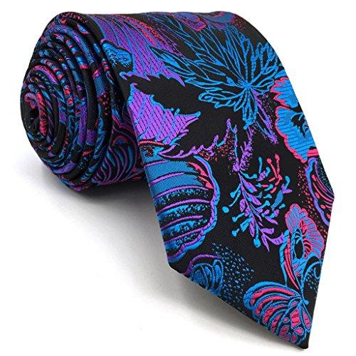 shlax&wing S&W Tie Conjunto des Herren Krawatte Dark Azul Navy Morado Floral Classic 147cm