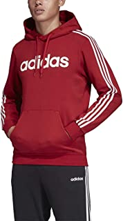 Adidas Essentials 3-Stripe Pullover Linear Hoodie Active Maroon/White XL
