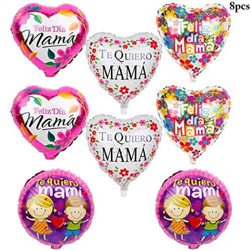 Outgeek Globos de Fiesta, 8PCS 18 '' Foil Balloons Fiesta de la Novedad Mylar Balloons para el Día del Padre o Día de la Madre