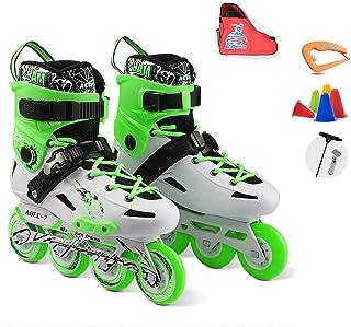フルフラッシュインラインスケート、大人用の 取り外し可能なインラインスケートのローラースケートグリーン、レッド (Color : Green, Size : 37 EU/5 US/4 UK/23.5cm JP)