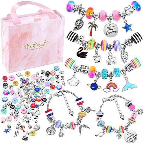Bracelet Making Kit, 85pcs DIY Jewelry Making Kit with 5pcs Silver Plated Bracelet Chains, Charm Bracelets Best Gift for Girls Teens