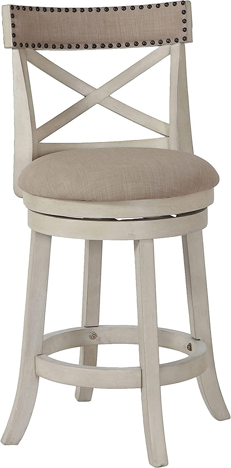 New Classic Furniture York Counter Swivel Bar Stool with Open Back and Fabric Upholstered Seat & Back Rest, 24-Inch, Antique White