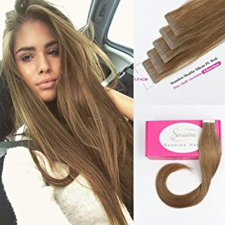 Sassina Invisible Tape in Human Hair Extensions Ash Brown Skin Wefts Double Sided PU Weft,Seamless,Reusable Tape on Hair 20Pcs 50g per set (8 14inch)