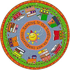 Flagship Carpets FE170-70A Reading is The Engine, Children's Classroom Educational Rug, 12′ Round