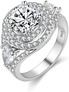 Uloveido Round Clear Cubic Zirconia Halo Silver Color Solitaire Wedding Engagement Ring PJ4260