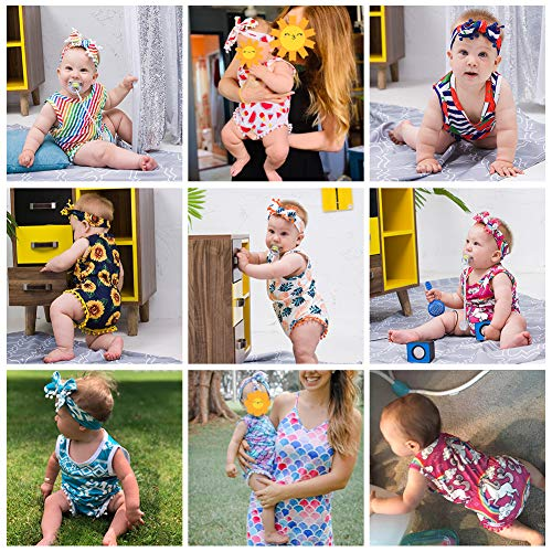 Headband Outfits for 0-24 Months Ahegao Baby Girls Floral Jumpsuit Infant Romper Toddler Playsuits