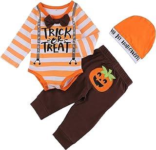 Halloween Baby Boys Girls Clothes Letter Print Long Sleeve Ropmer+Cartoon Pumpkin Pants+Hat Outfits Set