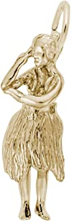10k Yellow Gold Hula Dancer Charm, Charms for Bracelets and Necklaces