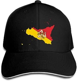 Unisex Sicilian Flag Map Trucker Cap Adjustable Peaked Sandwich Cap