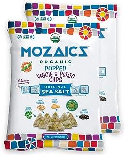 Mozaics Sea Salt Organic Popped Veggie Chips- Under 100 Calories, Gluten Free Healthy Snack - Healthier than veggie straws or stix - 15oz Mega Bags (Sea Salt, 2-count)