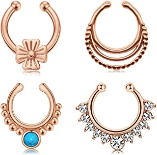 Fake Septum Rings Piercing Stainless Steel Faux Nose Rings Hoop Clip On Non Pierced Ear Cuff for Women Men