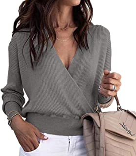 FISACE Womens Sexy Loose Wrap Cross Deep V Neck Ribbed Knit Crop Top Pullover Sweatshirt
