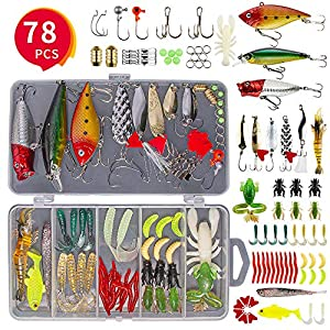 GOANDO 78Pcs Fishing Lures Kit for Freshwater Bait Tackle Kit for Bass Trout Salmon Fishing Accessories Tackle Box Including Spoon Lures Soft Plastic Worms Crankbait Jigs Fishing Hooks Topwater Lures