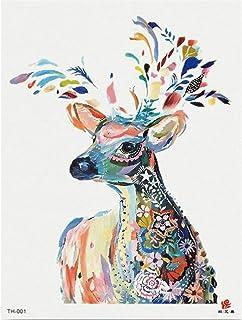 3 Unids-Flor Brazo Etiqueta Engomada del Tatuaje Impermeable Tatuaje Etiqueta de Transferencia de Agua Sika Deer Animal Plant Tattoo Sticker 3 Unids-1