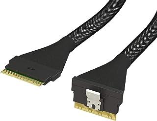 كابل LINKUP نحيف SAS SFF-8654 8i مستقيم إلى SFF-8654 8i مستقيم حتى 24 جيجابايت في الثانية عالي السرعة SAS4.0 / PCIE4.0 لتط...