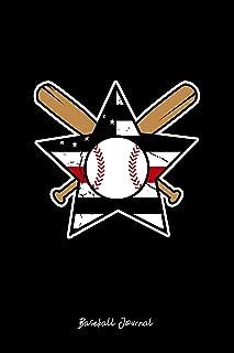 Baseball Journal: Dot Grid Journal - USA Flag Baseball Bat Star Softball Baseball Player Gift - Black Dotted Diary, Planner, Gratitude, Writing, Travel, Goal, Bullet Notebook