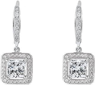 ROBERT MATTHEW Elise 18k White Gold Square Drop Dangle Earrings, Twilight Sparkling CZ Halo Diamond Earring Box Set for Women, Wedding Anniversary Fashion Statement Jewelry for Girls MSRP $150