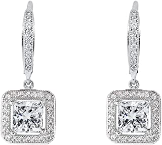 ROBERT MATTHEW Elise 18k White Gold Square Drop Dangle Earrings, Twilight Sparkling CZ Halo Diamond Earring Box Set for Women, Christmas Jewelry for Girls MSRP $150