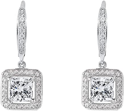 ROBERT MATTHEW Elise 18k White Gold Square Drop Dangle Earrings, Twilight Sparkling CZ Halo Diamond Earring Box Set for Women, Wedding Anniversary Fashion Statement Jewelry for Girls MSRP $150