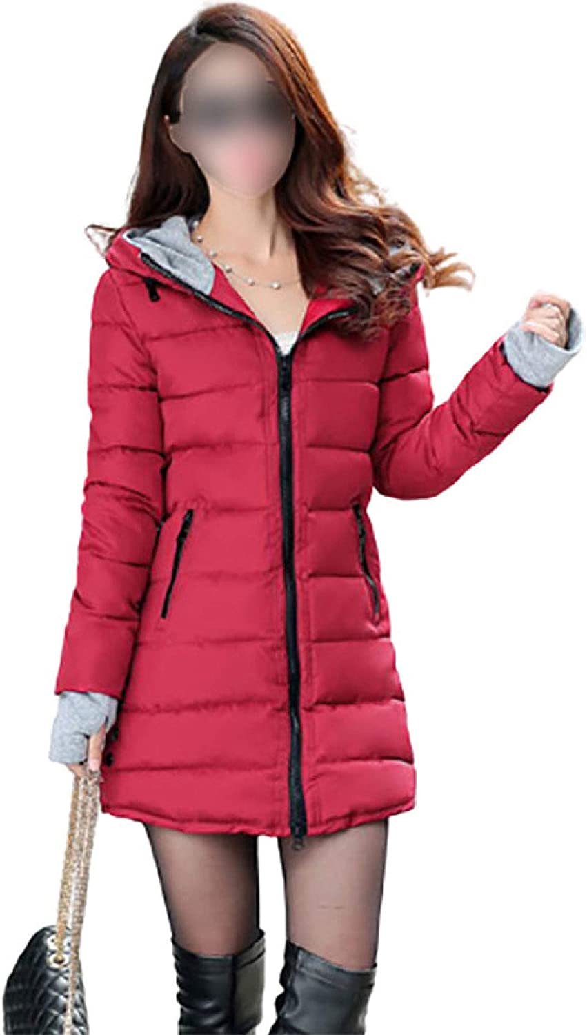Women's Ultra-Light Long-Sleeve Full-Zip Water-Resistant Slim Quilted Hooded Coat with Pocket