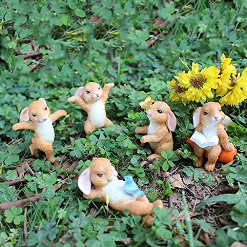 LAOLEE Osterhasen-Figur, Mikro-Landschaft, Miniatur-Feengarten, Dekoration, Ostern, Haus, Garten, Dekoration, niedliche Häschen