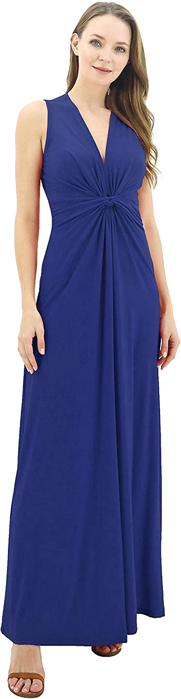 BENANCY Women's Sleeveless V-Neck Maxi Knot famous Evening Dress Front Bombing free shipping