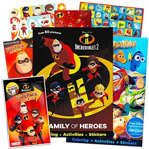 Disney Pixar Incredibles Coloring and Activity Book Super Set - Pack of 3 Incredibles Books with Crayons and Over 100 Stickers (Incredibles Party Supplies)