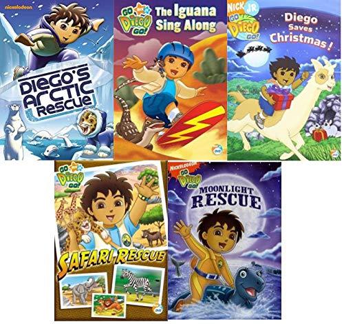 Go Diego Go DVD Set Volume 2 - Diego's Arctic Rescue/ The Iguana Sing Along/ Diego Saves Christmas!/ Safari Rescue/ Moonlight Rescue