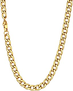 U7 Men's 9MM 12MM 15MM Chains 18K Gold Plated Miami Cuban Chain Necklace, Length 14/18/20/22/24/26/28/30 Inches Strong Cur...
