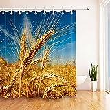 Blauer Himmel reifer Weizen Duschvorhang für Badezimmer,wasserdichtes & schnelltrocknendes Polyester,hochauflösendes Muster,12Haken,180X180cm,Heimtextilien