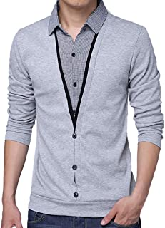 T-Shirt Mens Fashion Lapel Fake Two Long Sleeve Tops Spring Casual Blouse