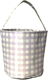 Personalized Pastel Check Fabric Bucket Basket Tote Bag - Children's Toys - Easter - Baby